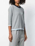 Chinti & Parker - Navy, Blue & Cream Striped Tie Back Sweater