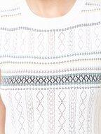 Carolina Herrera - White & Multicolor Stripe Knit Sleeveless Dress
