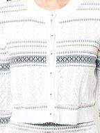 Carolina Herrera - White Knit Multicolor Striped Bolero Sweater