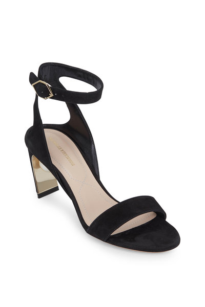 Nicholas Kirkwood - Lola Black Suede Pearl Inset Sandal, 70mm