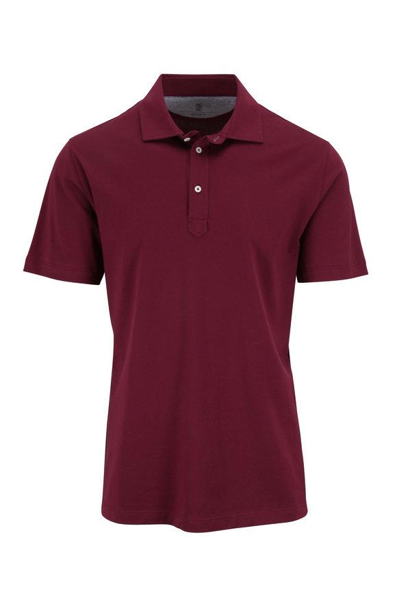 Brunello Cucinelli Burgundy Jersey Regular Fit Polo