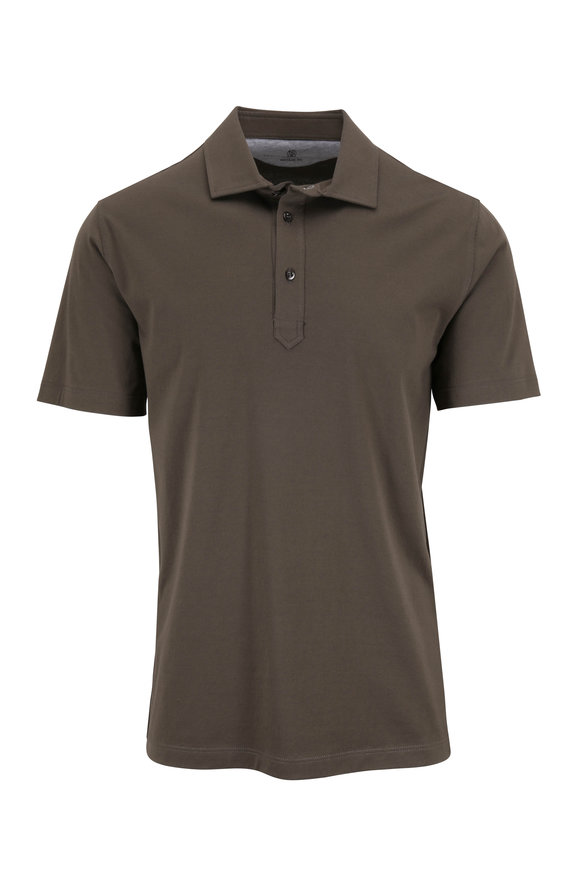 Brunello Cucinelli Olive Jersey Regular Fit Polo