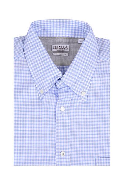 Brunello Cucinelli - Light Blue Gingham Basic Fit Sport Shirt