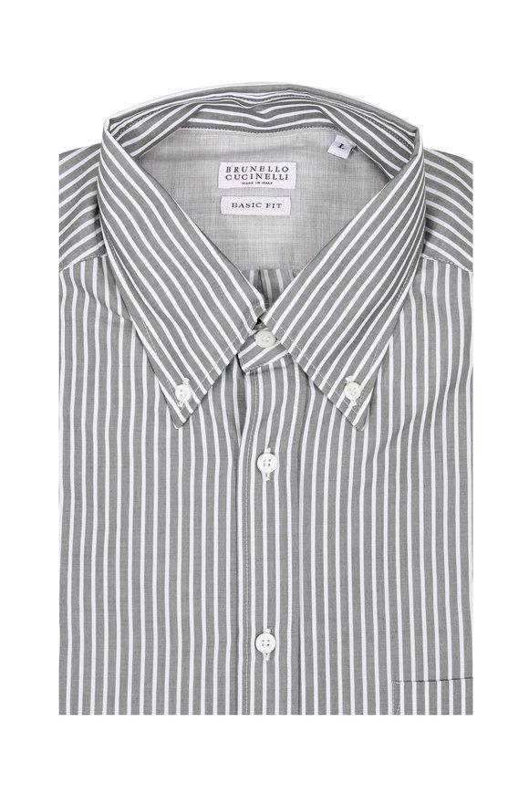 Brunello Cucinelli Olive Striped Basic Fit Sport Shirt