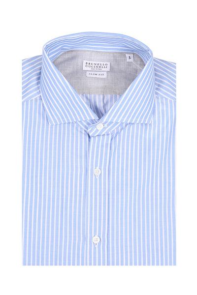Brunello Cucinelli - Light Blue Classic Stripe Slim Fit Dress Shirt
