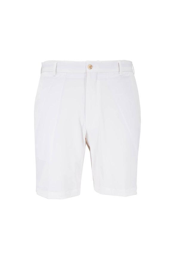 Peter Millar White High-Twist Performance Twill Shorts