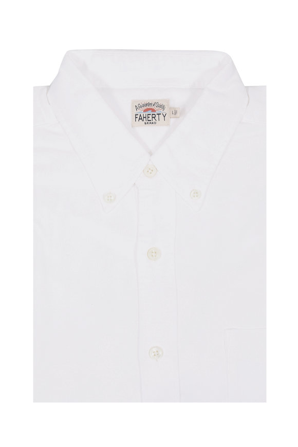 Faherty Brand Solid White Oxford Sport Shirt