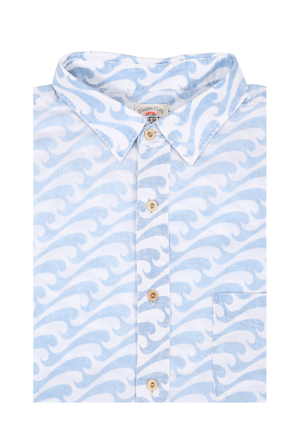 Faherty Brand Wave Printed Short Sleeve Sport Shirt