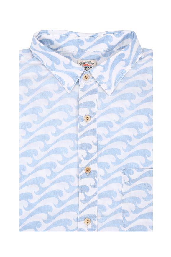 Faherty Brand Wave Printed Short Sleeve Sport Shirt