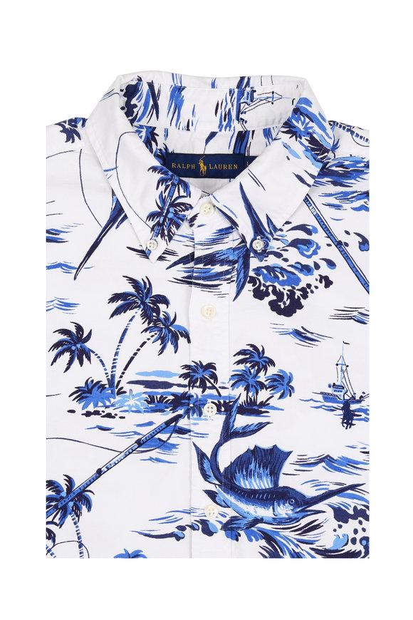 Polo Ralph Lauren White & Blue Marlin Printed Sport  Shirt