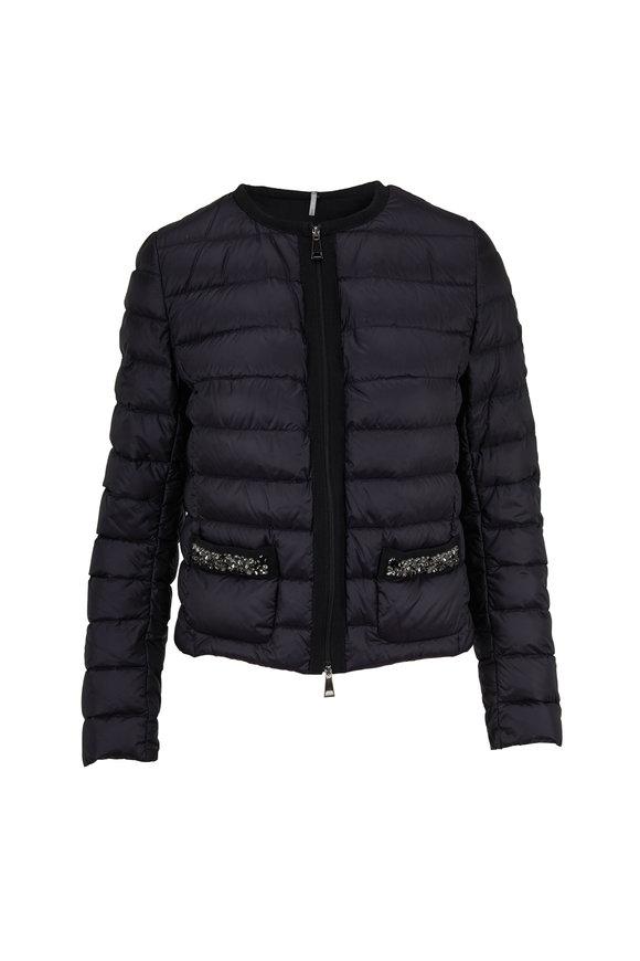 Moncler Cristalline Black Embellished Pocket Jacket