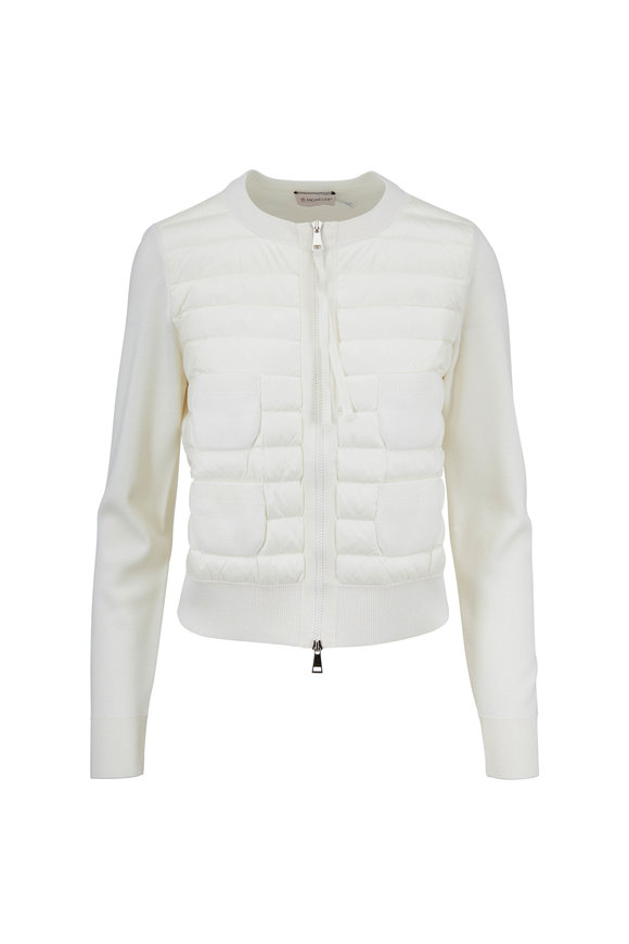Moncler Ivory Mixed Media Four-Pocket Jacket