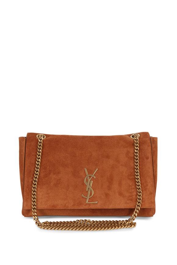 Saint Laurent Kate Cognac Suede To Leather Reversible Chain Bag