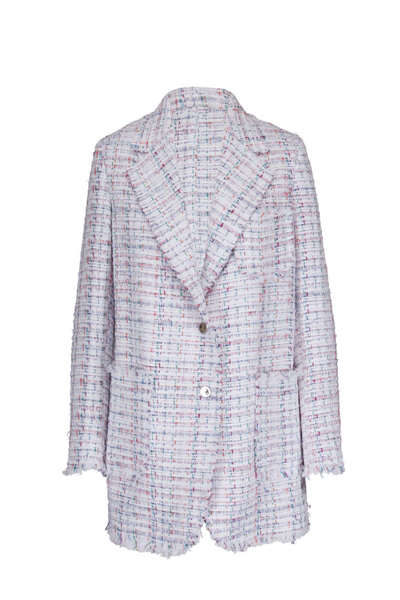 Thom Browne White & Multicolor Oversized Tweed Frayed Jacket