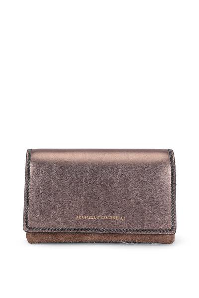 Brunello Cucinelli - Rose Laminated Leather Monili Trim Mini Bag