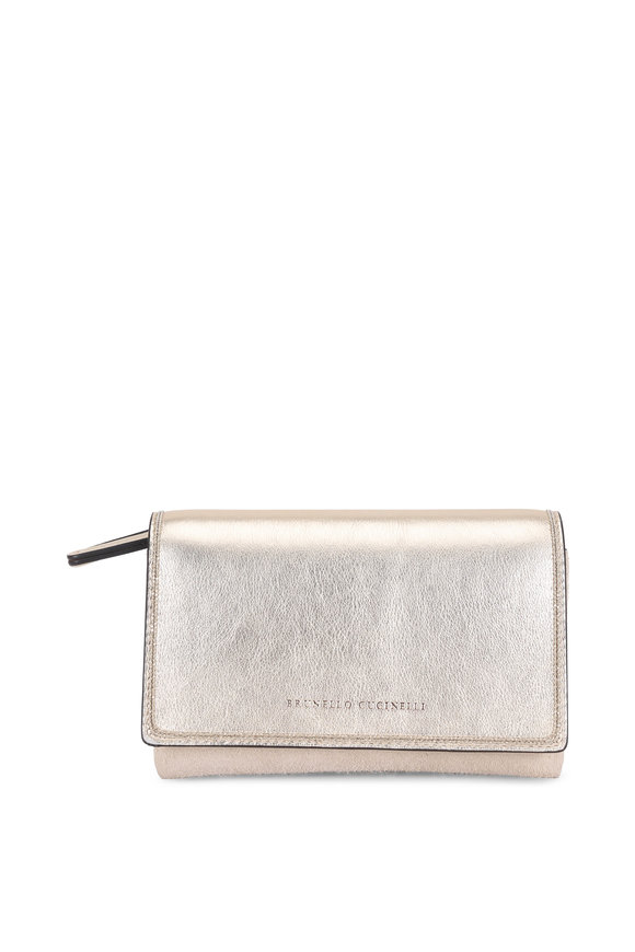 Brunello Cucinelli Platinum Laminated Leather Monili Trim Mini Bag