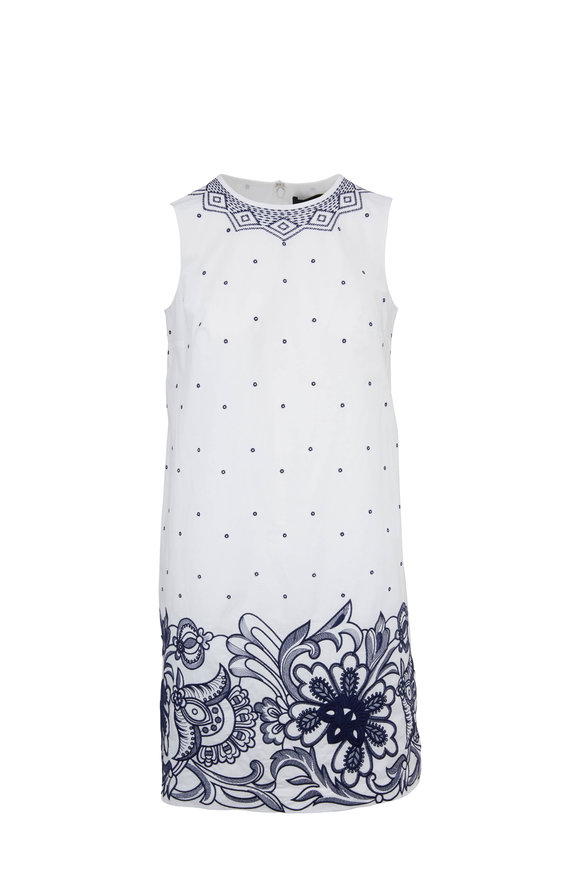 Paule Ka White & Navy Cotton Embellished Sleeveless Dress