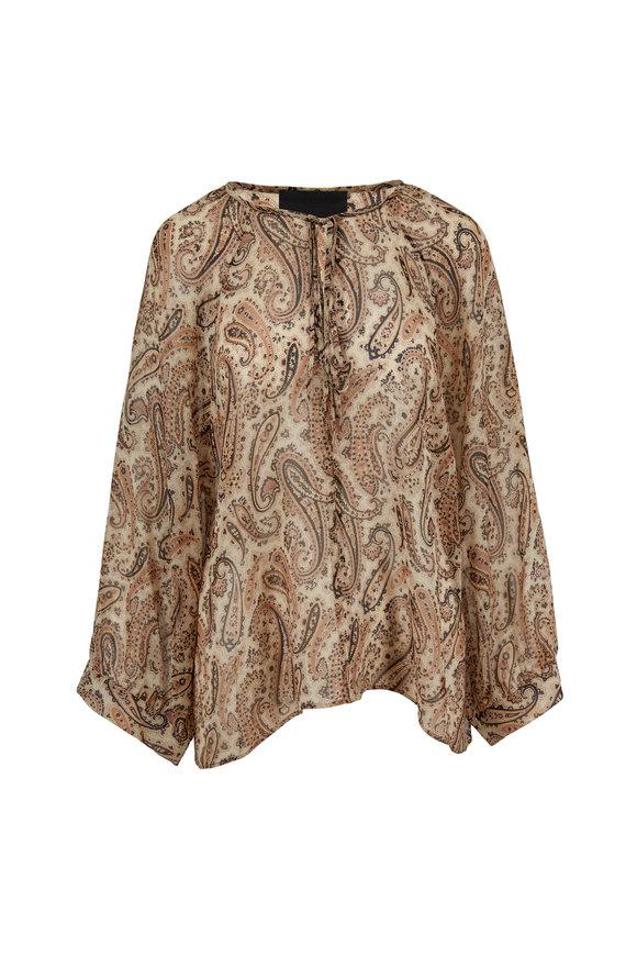 Nili Lotan Acadia Black & Beige Paisley Silk Blouse
