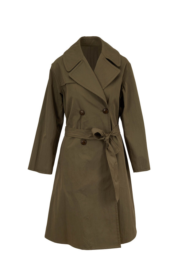 Nili Lotan Benning Army Green Belted Trench Coat