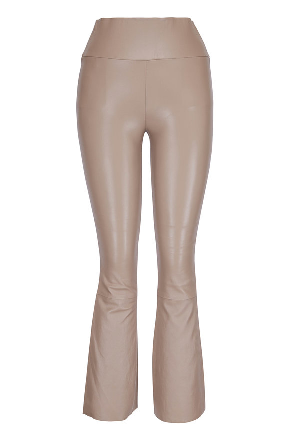 SPRWMN LLC Tan Leather High Waist Crop Flared Pant
