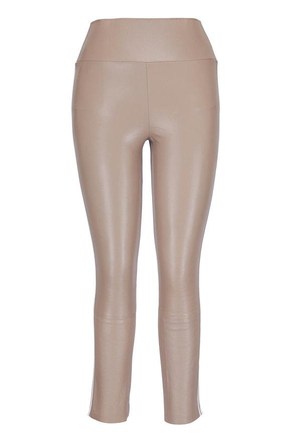 SPRWMN LLC Tan Leather Athletic Stripe Capri Pant