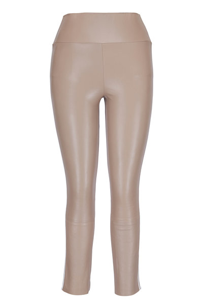 SPRWMN LLC - Tan Leather Athletic Stripe Capri Pant