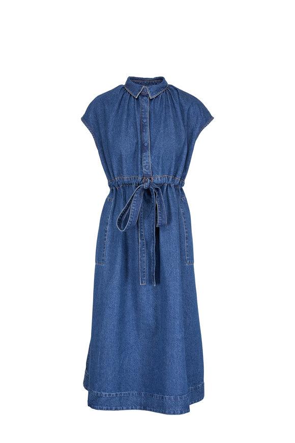 CO Collection Indigo Blue Tie Waist Denim Dress