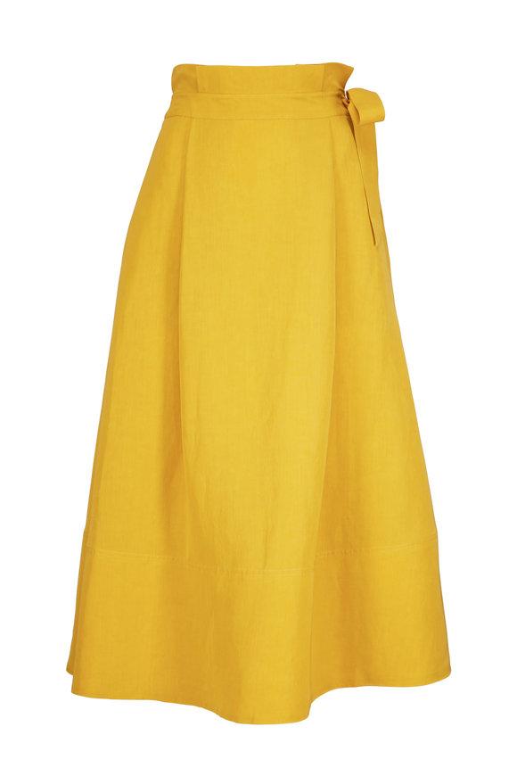 CO Collection Saffron Linen Side Tie A-Line Skirt