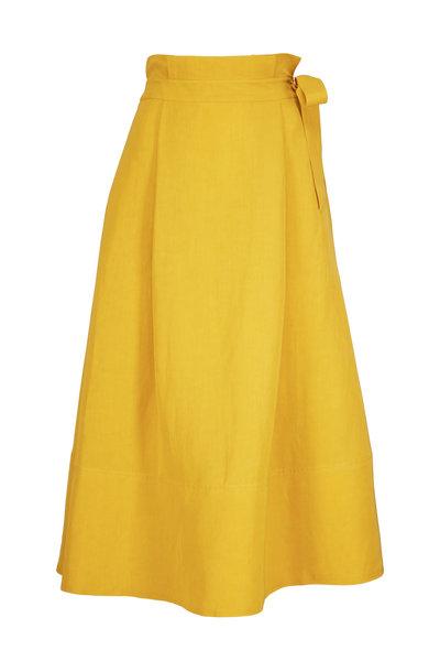 CO Collection - Saffron Linen Side Tie A-Line Skirt