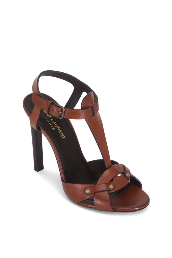 Saint Laurent Mica New Papaya Studded T-Strap Sandal, 105mm