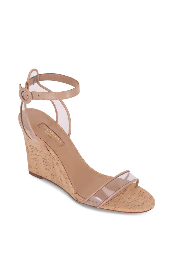 Aquazzura Minimalist Powder Pink Cork Wedge, 85mm