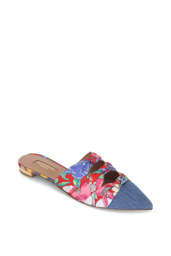 Aquazzura Mondaine Denim & Garden Party Flat Mule