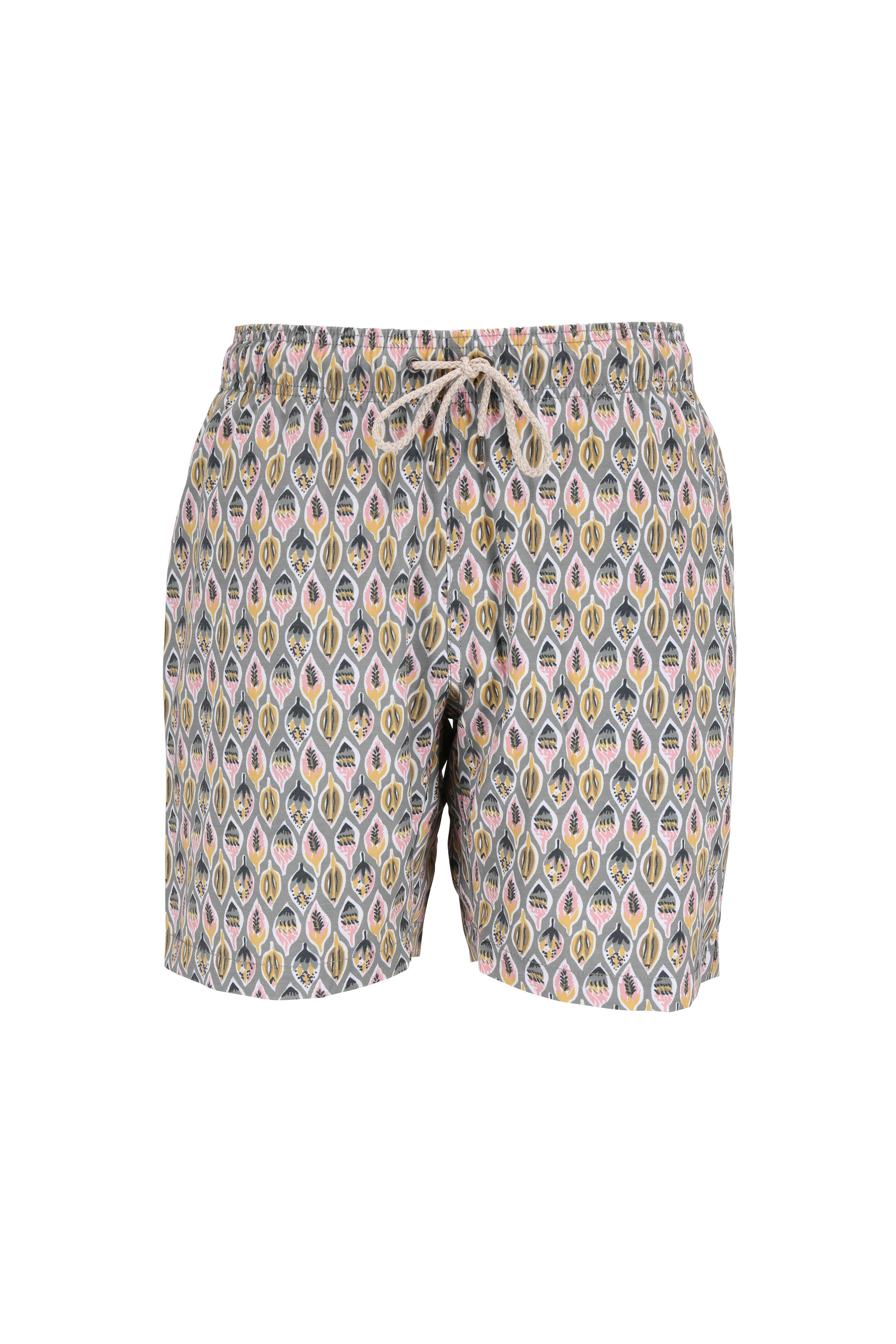 55422d2bf7 Faherty Brand - Light Green Leaf Printed Swim Trunks | Mitchell Stores