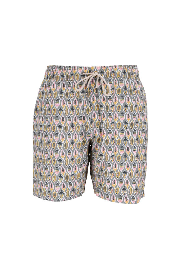 Faherty Brand Light Green Leaf Printed Swim Trunks