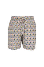 Faherty Brand - Light Green Leaf Printed Swim Trunks