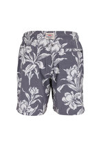 Faherty Brand - Washed Black Hawaiian Print Swim Trunks