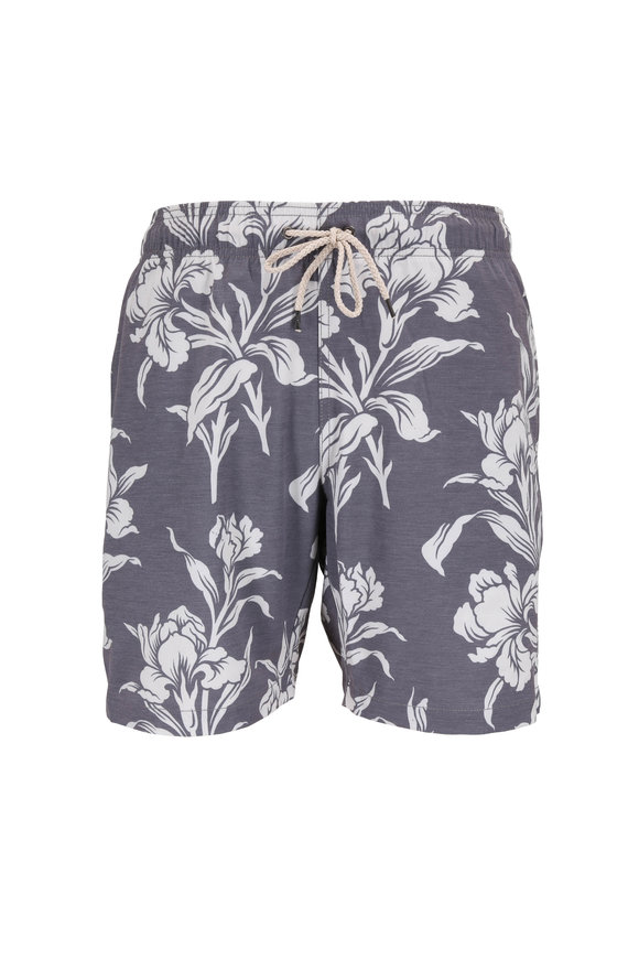 Faherty Brand Washed Black Hawaiian Print Swim Trunks