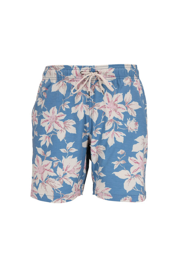 Faherty Brand Blue & Pink Floral Printed Swim Trunks