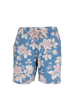 Faherty Brand - Blue & Pink Floral Printed Swim Trunks