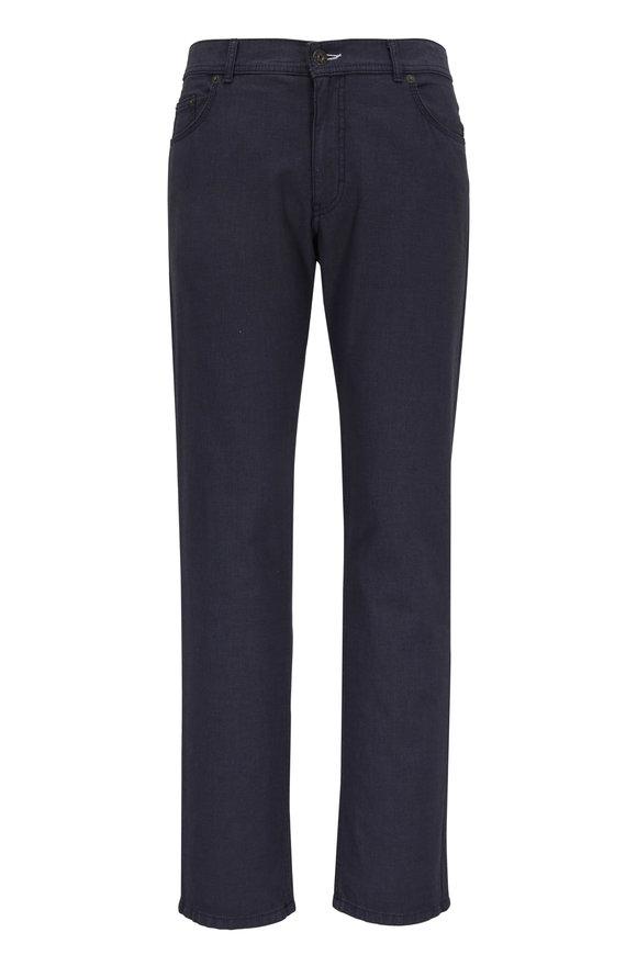 Brax Cooper Blue Textured Five Pocket Pant
