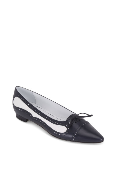 Manolo Blahnik - Boluflat Navy Blue & White Leather Spectator Flat