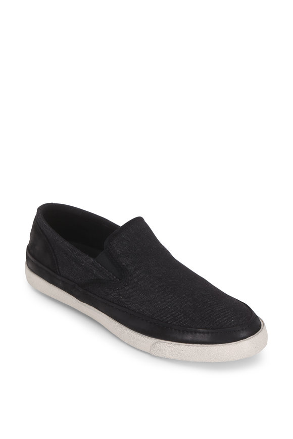 John Varvatos Jet Mineral Black Denim Slip-On Sneaker