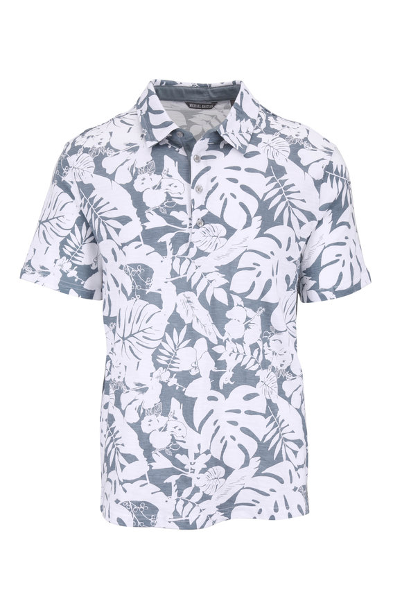 Michael Bastian Ash Blue & White Floral Printed Polo