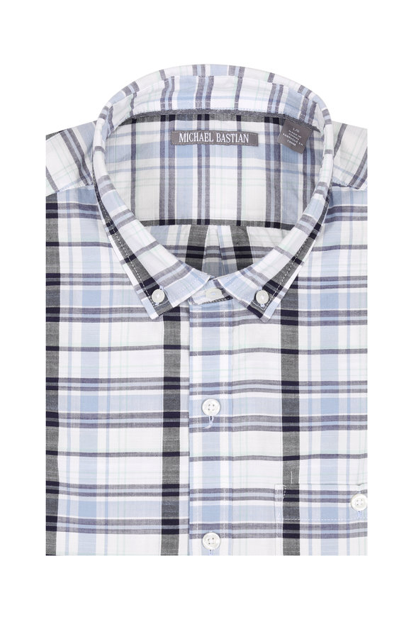 Michael Bastian Light Blue Plaid Short Sleeve Sport Shirt