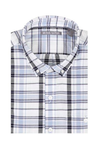Michael Bastian - Light Blue Plaid Short Sleeve Sport Shirt