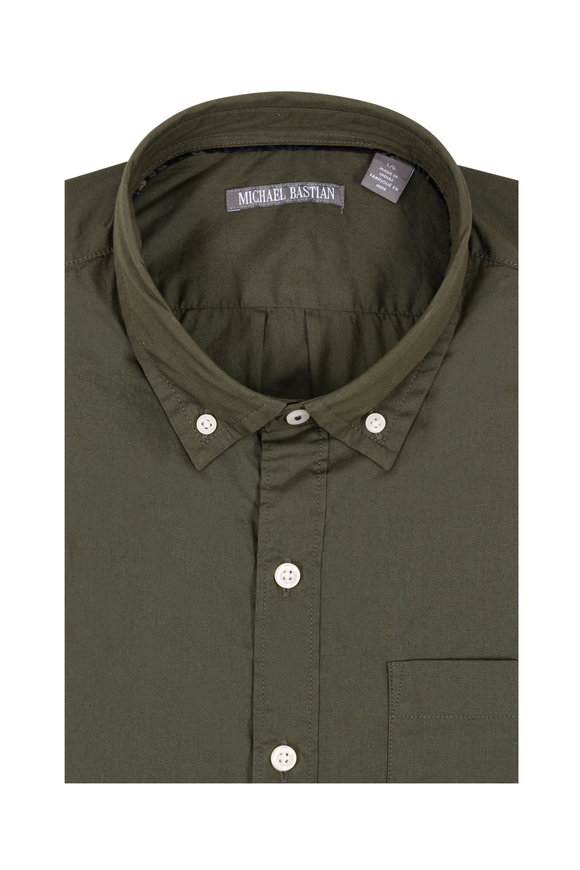 Michael Bastian Olive Green Short Sleeve Sport Shirt