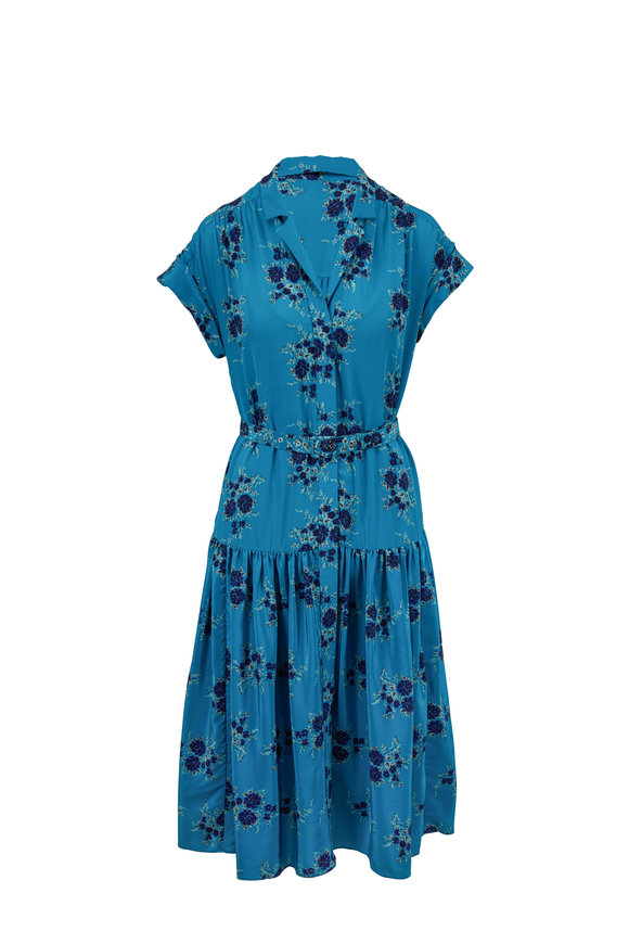 Veronica Beard Meagan Turquoise Silk Floral Dress
