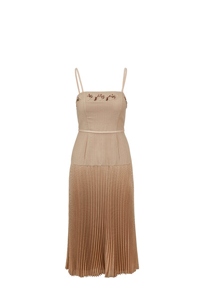 Fendi - Beige Micro-Mesh Mohair Sleeveless Dress