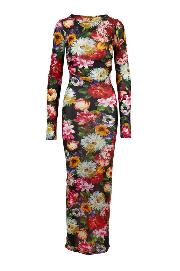 dfe6feb085 Dolce   Gabbana Multicolor Jersey Floral Printed Long Sleeve Dress