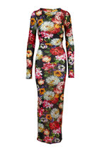 Dolce & Gabbana - Multicolor Jersey Floral Printed Long Sleeve Dress